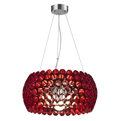 Shields Metal 3-Light Drum Pendant Shade Color: Red