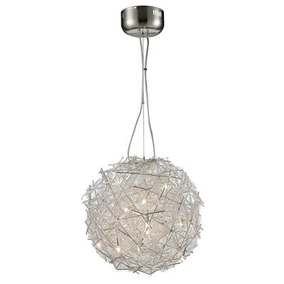 Shick Metal 15-Light Globe Pendant Shade Color: Silver