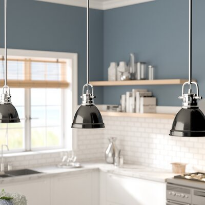 Bodalla 1-Light Bowl Metal Mini Pendant Finish: Chrome, Shade Color: Black
