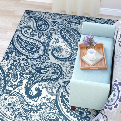 Pearl Ivory/Blue Indoor/Outdoor Area Rug Rug Size: Rectangle 710 x 1010