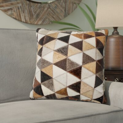 Graham Mosaik Leather Throw Pillow Color: Black/Beige/Brown