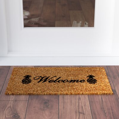 Adrianne Welcome Pineapples Doormat Mat Size: Rectangle 15 x 25