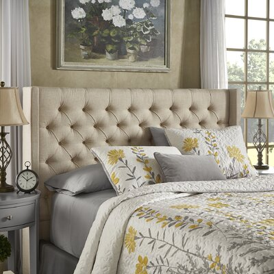 Crawley Upholstered Wingback Headboard Size: Queen, Upholstery: Beige