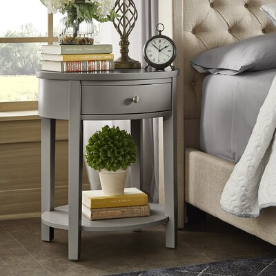 Canterbury End Table with Storage Color: Gray