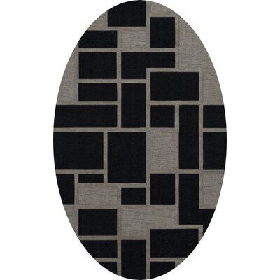 Haledon Wool Blackstone Area Rug Rug Size: Oval 5 x 8