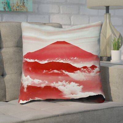 Enciso Fuji Throw pillow Size: 14 H x 14 W, Color: Red