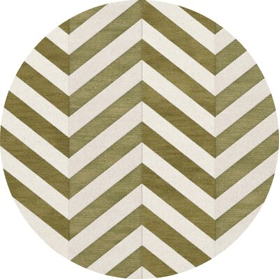 Shellenbarger Wool Herb/White Area Rug Rug Size: Round 8