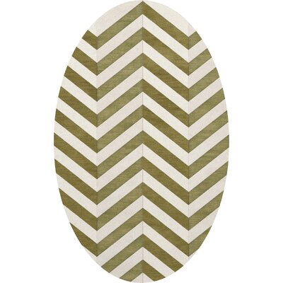 Shellenbarger Wool Herb/White Area Rug Rug Size: Oval 9 x 12