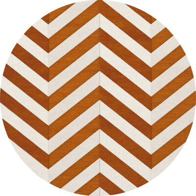 Shepler Wool Tangerine Area Rug Rug Size: Round 6