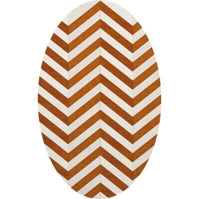 Shepler Wool Tangerine Area Rug Rug Size: Oval 12 x 18