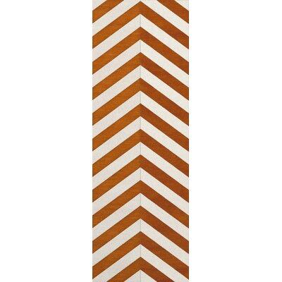 Shepler Wool Tangerine Area Rug Rug Size: Runner 26 x 12