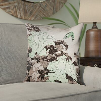 Clair Peonies with Butterfly Indoor Square Pillow Cover Color: Green, Size: 16 x 16