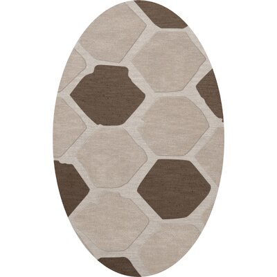 Dunson Wool Croissant Area Rug Rug Size: Oval 5 x 8