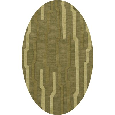 Haslett Wool Tarragon Area Rug Rug Size: Oval 6' x 9'