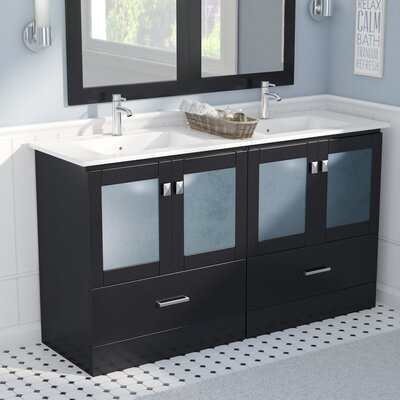 Lapoint Modern 60 Double Bathroom Vanity Set Base Finish: Espresso