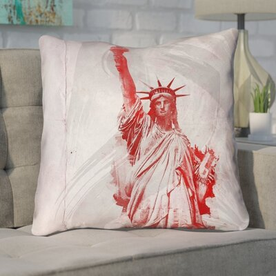 Houck Watercolor Statue of Liberty Double Sided Print Square Throw Pillow Size: 14 x 14
