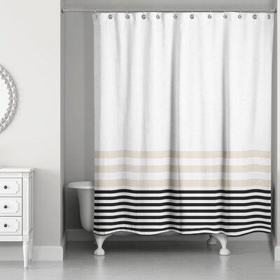 Qu Stripes Shower Curtain Color: Beige/Black