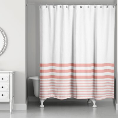 Qu Stripes Shower Curtain Color: Coral
