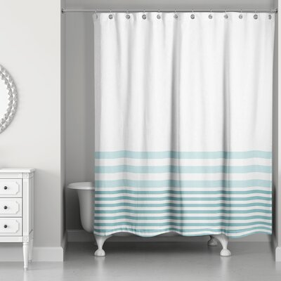 Qu Stripes Shower Curtain Color: Blue