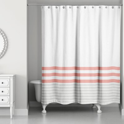 Qu Stripes Shower Curtain Color: Coral/Gray
