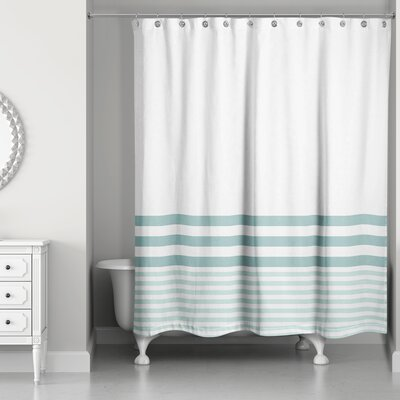 Qu Stripes Shower Curtain Color: Teal
