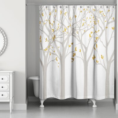 Hofstetter Tree Silhouettes Shower Curtain Color: Beige