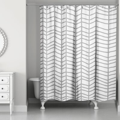 Mcnealy Chevron Lines Shower Curtain Color: Gray
