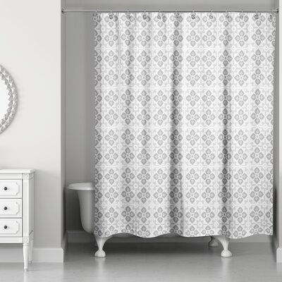 Fairfield Tile Pattern Shower Curtain Color: Gray