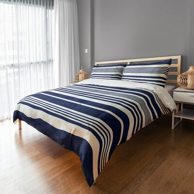 Qu Stripes Sham Size: King, Color: Navy