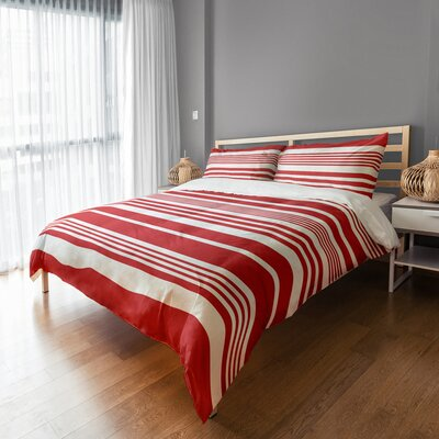Qu Stripes Sham Size: King, Color: Red