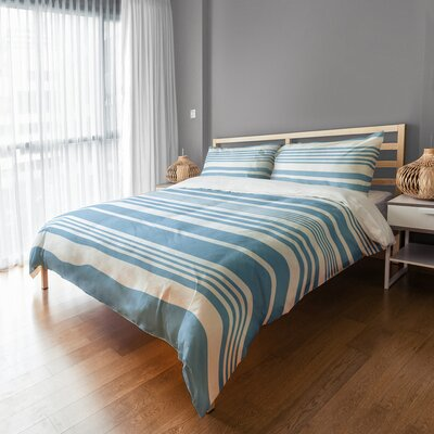 Qu Stripes Sham Size: King, Color: Blue