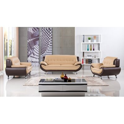 Vickrey 3 Piece Leather Living Room Set Color: Yellow/Brown