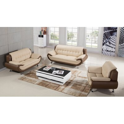 Vickrey 3 Piece Leather Living Room Set Color: Cream/Taupe