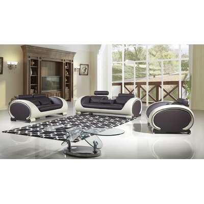 Shryock 2 Tone 3 Piece Living Room Set Color: Dark Chocolate/Cream