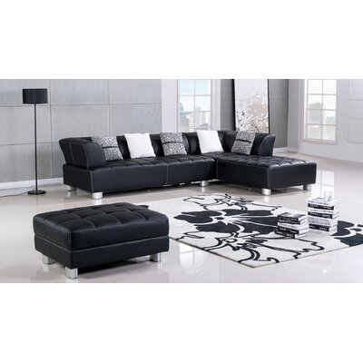 Henriquez Living Room Sectional Upholstery: Black, Orientation: Left Hand Facing