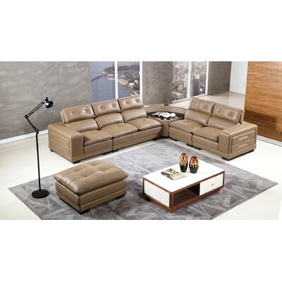 Vidaurri Leather Sectional with Ottoman Finish: Taupe