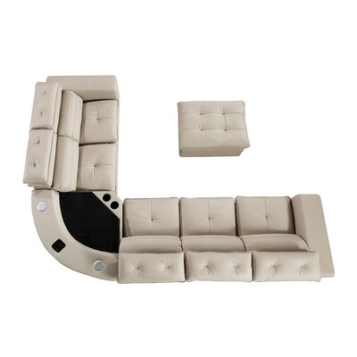 Vidaurri Leather Sectional with Ottoman Finish: Light Gray