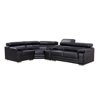 Hennigan Sectional Upholstery: Black, Orientation: Right Hand Facing