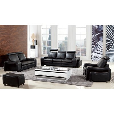 Vierra 6 Piece Living Room Set Color: Black