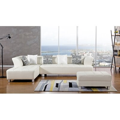 Henriquez Living Room Sectional Upholstery: Ivory, Orientation: Left Hand Facing