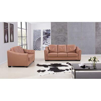 Vicknair 2 Piece Leather Living Room Set Color: Dark Tan