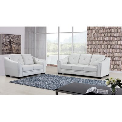 Vicknair 2 Piece Leather Living Room Set Color: Ash Gray