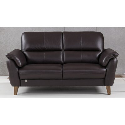 Shriner Leather Loveseat Finish: Dark Chocolate