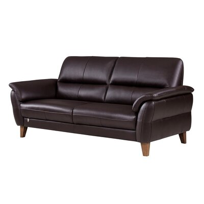 Shriner Leather Sofa Finish: Dark Chocolate