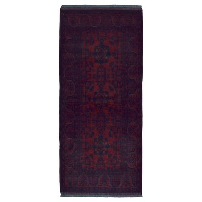 One-of-a-Kind Esperanza Khal Mohammadi Afghan Hand-Woven Wool Runner Red Area Rug