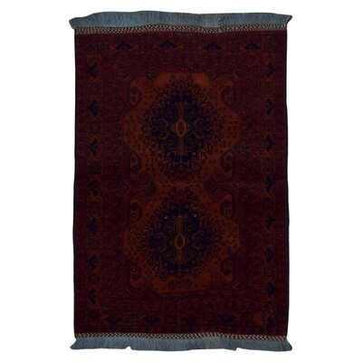One-Of-A-Kind Esperanza Hand Woven Wool Red-Orange/Blue Area Rug