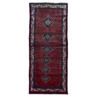 One-of-a-Kind Breonna Hand-Woven Wool Red Border Area Rug