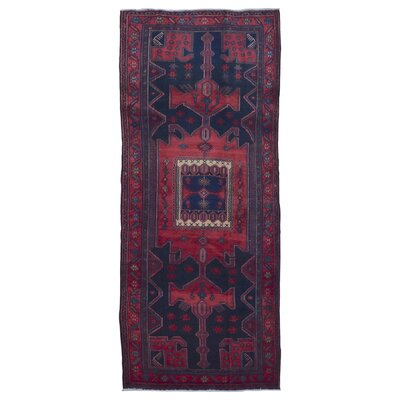 One-of-a-Kind Breonna Hamadan Hand-Woven Rectangle Wool Red Area Rug