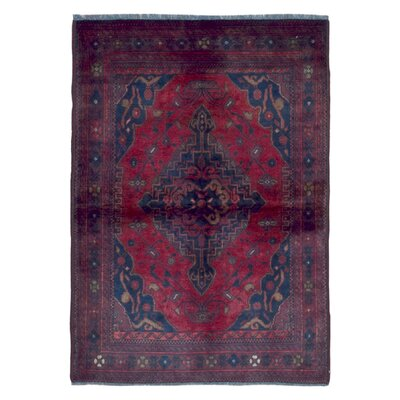 One-of-a-Kind Esperanza Khal Mohammadi Afghan Fade Resistant Hand-Woven Wool Rectangle Red Area Rug