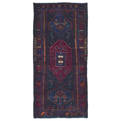 One-of-a-Kind Breonna Hamadan Vegetable Dye Hand-Woven Wool Red/Blue Area Rug